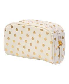My new makeup bag: Metallic Polka Dot Cosmetic Bag from Forever 21