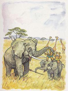 Describa lo que están haciendo los ositos con los elefantes.