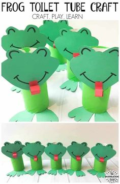 Super Cute Toilet Tube Frog Craft For Kids - Today we have a fantastic toilet tube frog craft for kids on The Inspiration Edit today. As a child I remember going on walks with my parents in the w. Animal Crafts For Kids, Spring Crafts For Kids, Crafts For Girls, Easy Crafts For Kids, Art For Kids, Frog Crafts Preschool, Pond Crafts, Toilet Paper Roll Crafts, Paper Crafts