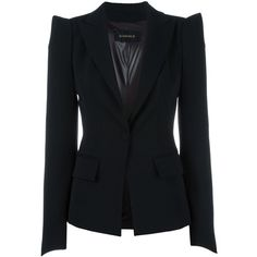 Plein Sud pointy shoulders blazer (220.590 HUF) ❤ liked on Polyvore featuring outerwear, jackets, blazers, black, plein sud and blazer jacket