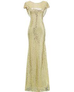 Solovedress Women's Mermaid Sequined Long Evening Dress F...