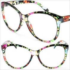 d2f3d188afe Clear Frame Flower Colorful Frame Cat Eye Eyeglasses UV400 Vintage Eyewear  P9729