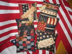 Primitive Americana Bowl Fillers/Tucks/Ornies/Flag/Rusty Bell/$th of July