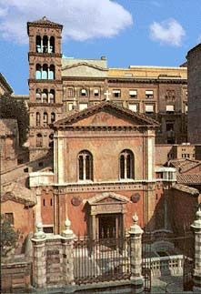 S. Pudenziana, built over a 2nd century AD Roman house, is recognized as oldest place of Christian worship in Rome. Re-uses part of a bath facility still visible in the structure of the apse. Until 313, this church was the residence of the Pope, before Emperor Constantine I offered the Lateran Palace in its stead. Its 19th c. facade reuses ancient materials, including the pediment over the door.