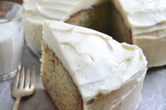 The best banana cake with spiced vanilla buttercream frosting, it's the perfect fall dessert!
