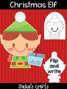 Christmas Elf with Present - Jackie's Crafts, Winter Activities, Christmas Letter Tracing Worksheets, Tracing Letters, Little Lotus, Elf Letters, Winter Activities, Christmas Elf, Presents, Teacher, Lettering