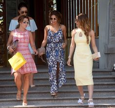 Glam: Coleen Rooney (left) led the group of footballers and WAGs attending the idyllic wed...