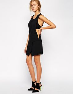 By Zoe Sleeveless Pinafore Dress with Cross Front Skirt BLACK - size 4 / UK 14