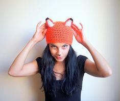 Crochet Pattern fox hat beanie women animal costume DIY