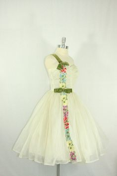Vintage 1950's Dress  Incredible White Chiffon Full Skirt Bridal Frock by VintageFrocksOfFancy