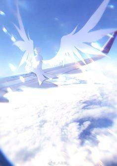 Thiên thần tung cánh ngồi trên một chiếc máy bay
