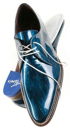 mens athletic shoes, extra wide mens shoes, mens formal shoes - Floris van Bommel Metallic Blue Calidad de cuero, exclusividad de diseño y particularidad en el color: excelente calzado