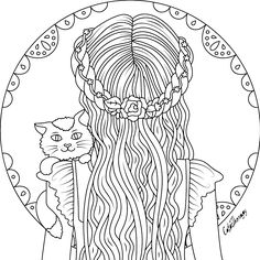 lady with cat to color with Color Therapy: http://www.apple.co/1Mgt7E5 #colortherapyapp #coloring