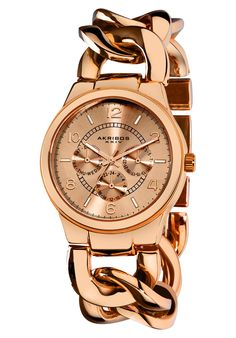 Shop for Akribos XXIV Women's Water-Resistant Twist-Chain Quartz Multifunction Rose-Tone Watch. Get free delivery On EVERYTHING* Overstock - Your Online Watches Store! Rose Gold Chain, Gold Chains, Online Watch Store, Metal Bracelets, Quartz Watch, Jewelry Watches, Gold Watches, Women's Watches, Dream Watches