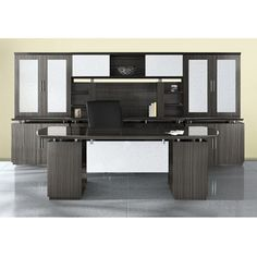 Mayline Sterling Series High End Executive Office Furniture Set Finishes Available! Executive Desk Set, Executive Office Furniture, Office Interior Design, Office Interiors, Office Images, Wall Storage, Office Decor, Office Ideas, Furniture Sets