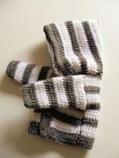 Tutorial: simple crochet striped hooded baby jacket/ Einfache gestreifte Baby-Kapuzenjacke (geh�kelt)