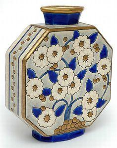 Longwy virágos nyolcszögletű lapos váza