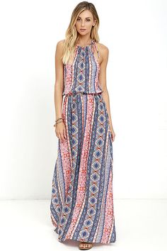 Where the river meets the sea, you'll find the Estuary Orange Print Maxi Dress! A drawstring neckline ties at each shoulder above a loose, sleeveless bodice. An elastic waistband transitions into woven maxi skirt with high side slits. Orange, burgundy, blue, and cream print.