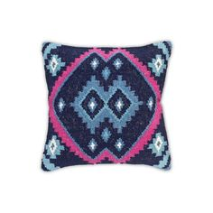 Image of Kilim Decorative Pillow in Blue and Fuchsia