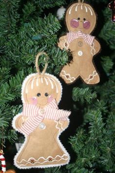 Gingerbread ornaments sewn from brown paper sacks with felt backsides
