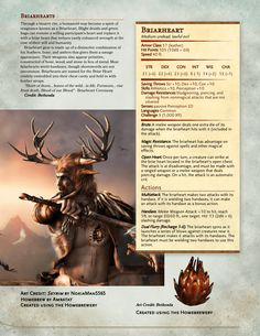 Their heart replaced, an undead warrior rises to slay their enemies! A Briarheart enters - UnearthedArcana Dungeons And Dragons Classes, Dungeons And Dragons Homebrew, Curious Creatures, Wild Creatures, Dnd Stats, Dnd Dragons, Elder Scrolls Skyrim, Dnd 5e Homebrew, Dnd Monsters