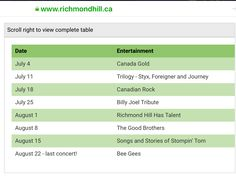 August 8, July 25, Summer Festivals, Richmond Hill, July 18th, Billy Joel, Journey, Entertaining, Songs