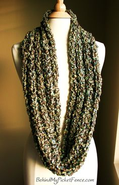 New MOCHA SKY INFINITY SCARF  - Tan, Brown, Greens & Blues by BehindMyPicketFence.om