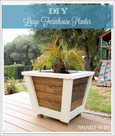 DIY Large Farmhouse Planter.  Free woodworking plans for building this large outdoor farmhouse-style planter.  Add some farmhouse decor to your porch or deck.