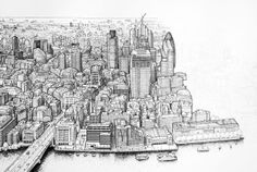Panoramic pen drawing of London (work in progress) by Mike Hall, via Behance repined from Paul Duncan