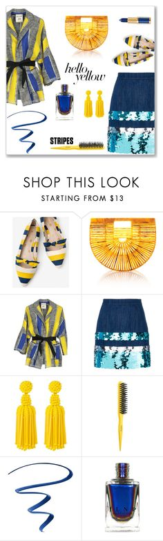 """""""Bold Stripes"""" by juliannedieyi ❤ liked on Polyvore featuring Boden, SEMICOUTURE, Miu Miu, Deepa Gurnani, Drybar, L'Oréal Paris, contest, yellow and strawbags"""