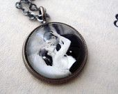 Personalized Necklace, Custom Photo Petite Pendant - Vintage Antique Silver - Customized with Your Image