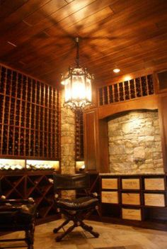 Beautiful Engineered African Mahogany wood on ceiling.  Wine Cellar By CellarMaker.