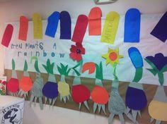Planting a Rainbow by Lois Ehlert Lois Ehlert Author Study, Planting A Rainbow, Rainbow Crafts, Author Studies, Spring Theme, Kindergarten Art, Daffodils, Kids Rugs, Bows