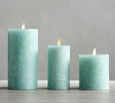 Premium Flickering Flameless Textured Candle, Seaglass #potterybarn
