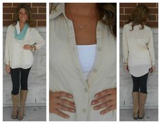 Our peached button down shirt would be fantastic here!  Available in red & black too! www.myjockeyp2p.ca/nathaliemcisaac