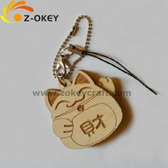Wooden laser carving key chain with cute lucky cat shape