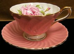 AYNSLEY ENGLISH BONE CHINA PINK SWIRL TEA CUP AND SAUCER WITH ROSE INTERIOR