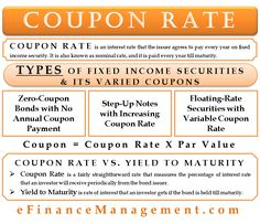 The coupon rate is an interest rate that the issuer agrees to pay every year on a fixed income security. It is also known as nominal rate. Learn Accounting, Accounting Basics, Bookkeeping And Accounting, Accounting And Finance, Accounting Student, Accounting Principles, Financial Markets, Financial Literacy, Financial Planning