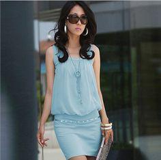 New !!2014 Summer Women's Mini Dress Crew Neck Chiffon Sleeveless Causal Tunic Sundress 4 colors ,Free Shipping