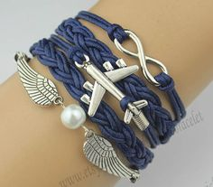 Snitch, infinity bracelet in silver, with aircraft wings bracelet, hand weaving rope, navy blue, best wishes, $7.99