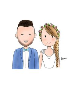Couple Portrait Save the Date Wedding by MerryLittleDoodle on Etsy