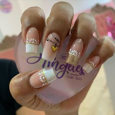 Luv Nails, Bling Nails, Acryl Nails, Gel Nail Art Designs, Beautiful Nail Designs, Cute Acrylic Nails, Nail Art Hacks, Stylish Nails, French Nails