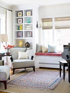 PIANO ROOM | white+room+paint+window+seat+bench+piano+room+layered+rugs+small+kilim ...