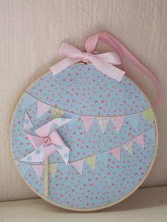 Bunting Embroidery Hoop Art Shabby Chic  Pastel Pinwheel so pretty.
