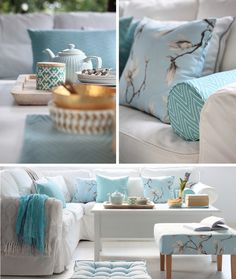 biale-wnetrza-mietowe-dodatki-mint-interiors-akcesories Mint Blue, Blue And White, Interior And Exterior, Interior Design, White Interiors, White Houses, Home Staging, Home Deco, Living Rooms