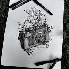Finished ;) #camera #nikon #sketching #camerasketch #dotworkers #dotwork #blackworkers #blackworkerssubmission #pictures #blackink #tattooflash #three #tattooflash #graphic Camera Sketches, Camera Drawing, Tattoo Sketches, Art Sketches, Vintage Camera Tattoos, Camera Tattoo Design, Sharpie Art, Types Of Cameras, Landscape Drawings