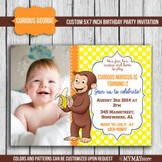 Curious George Birthday Party Invitation Digital Printable 5x7 Photo