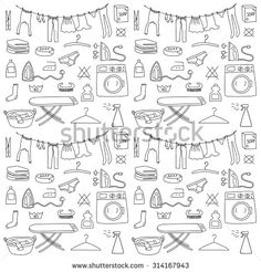 Laundry wash day doodle icon sketch pattern - stock vector