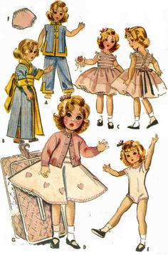 Vintage Sewing Patterns Vintage Doll Clothes PATTERN 2270 for 17 inch Shirley Temple Lingerie Lou Ideal - Doll Dress Patterns, Doll Sewing Patterns, Vintage Sewing Patterns, Clothing Patterns, Sewing Ideas, Sewing Doll Clothes, Girl Doll Clothes, Barbie Clothes, Girl Dolls