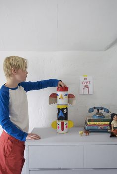 Make a Set of Totem Pole Banks from Cans and Duct Tape and teach your kids how to Save, Spend and Give! | Mer Mag